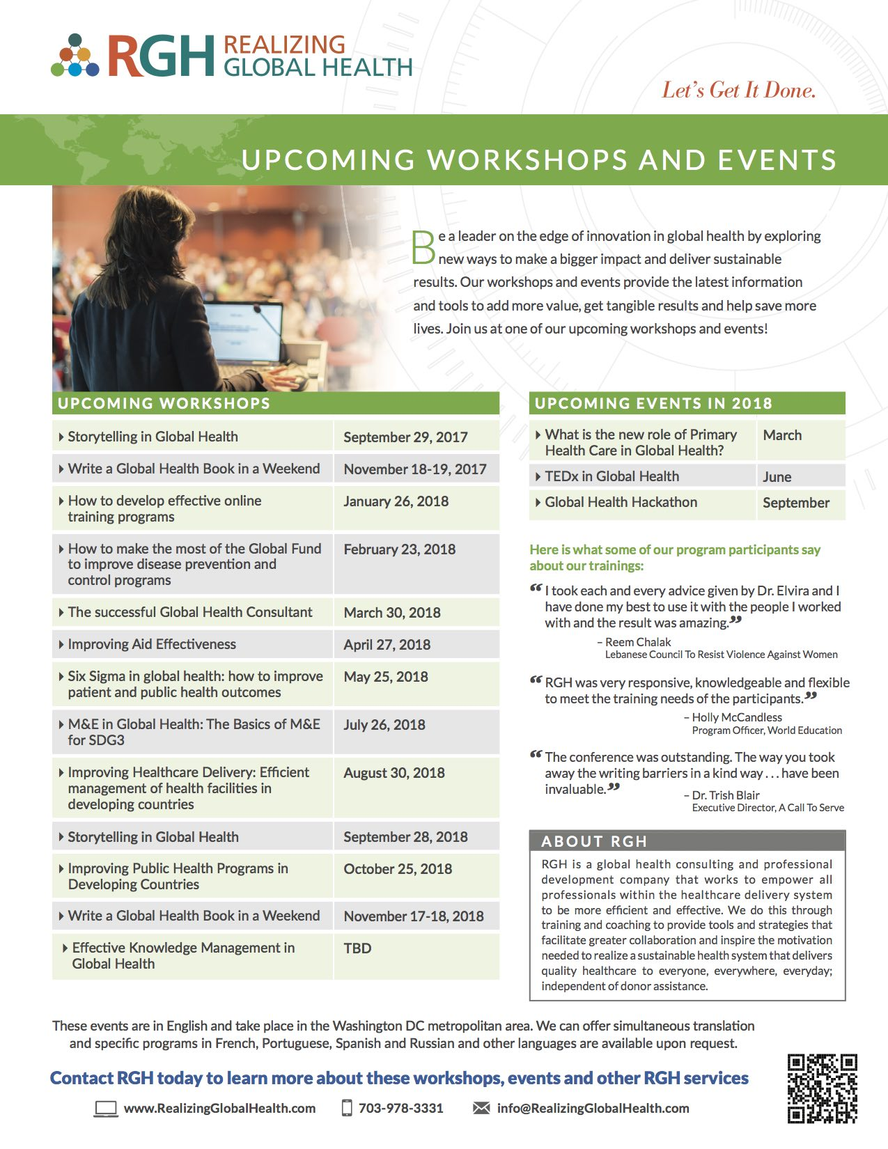 RGH Upcoming Workshops & Events